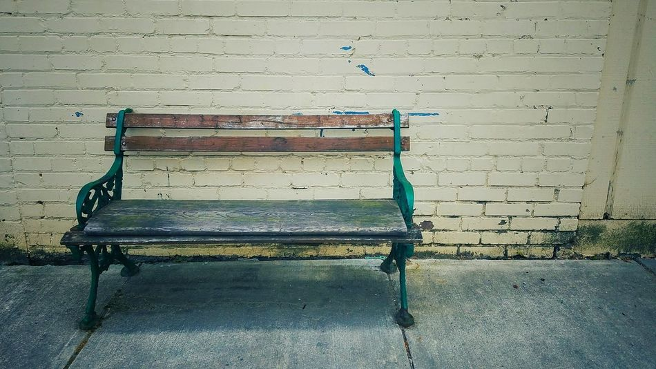 Bench Old Antique Urban Brick Wall Street Sit Down From My Point Of View From My Eyes To Yours Letgodhandleit Sidewalk Wrought Iron Bench Wooden Bench Have A Seat Seat Sit No People Missing Simple Quiet Street Photography EyeEm Diversity The Secret Spaces TCPM