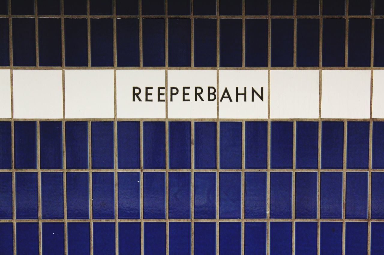 Pattern No People Close-up Text Backgrounds Day Indoors  Hamburg Reeperbahn  St. Pauli Blue Subway Station