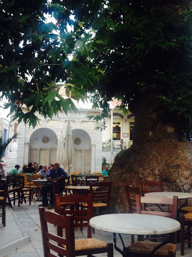 Here Belongs To Me Tree Square Coffee Time Table Chairs Marble Monument Cyclades Tinos Greece Island Pyrgos Village People Enjoying Life