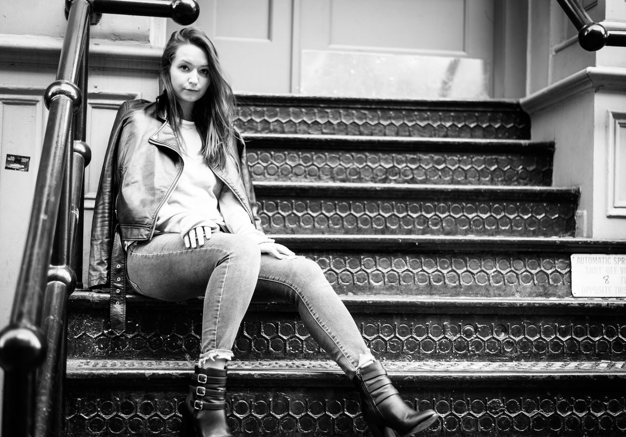 One Person Sitting Full Length Steps Front View Young Adult Casual Clothing Steps And Staircases Staircase Real People Waiting Beautiful Woman Young Women Portrait Beauty Outdoors Day People Adult Adults Only Photography NYC Arts Culture And Entertainment Fashion Model Model
