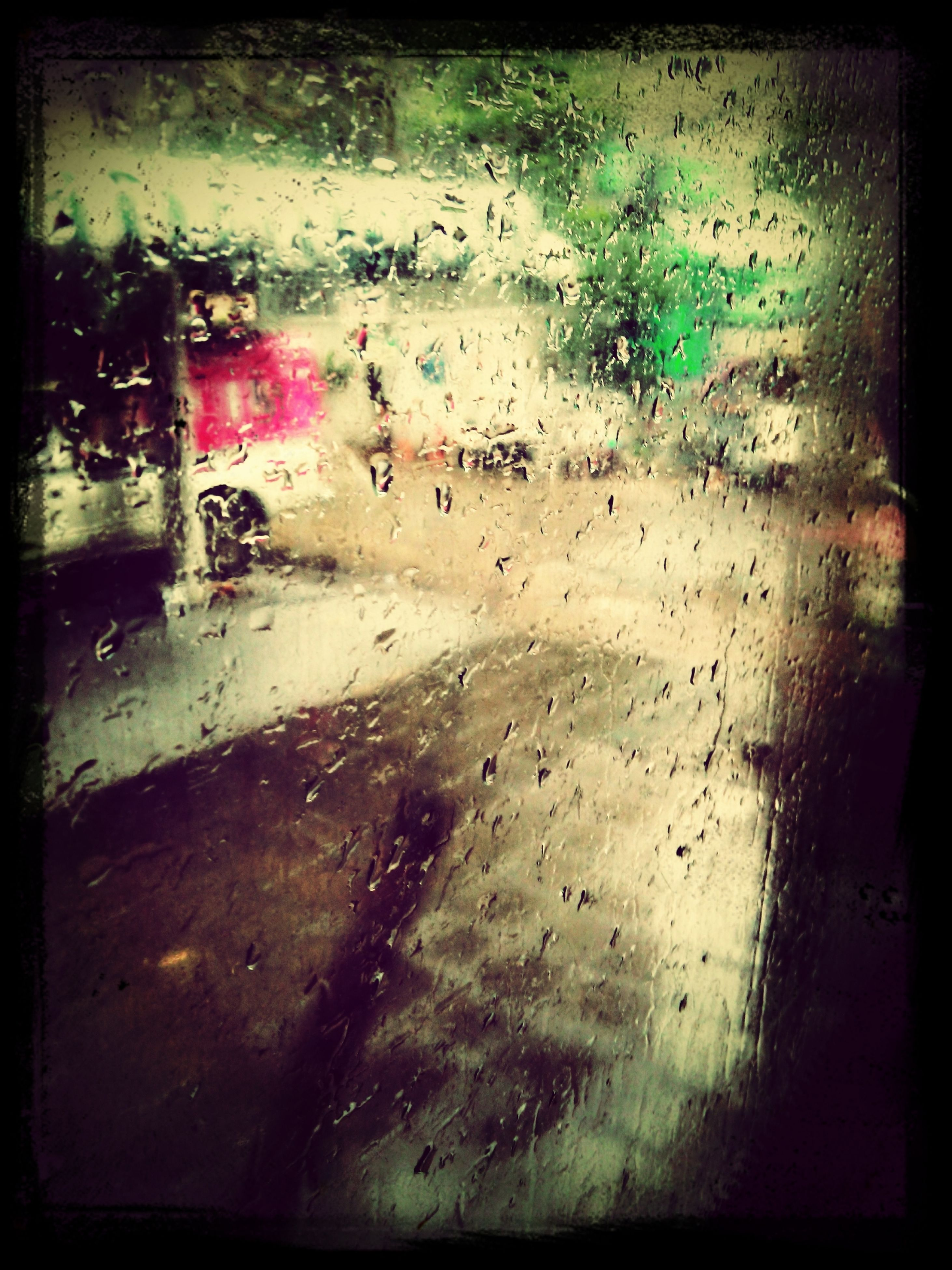 transfer print, auto post production filter, indoors, wet, street, window, rain, high angle view, water, day, built structure, glass - material, no people, wall - building feature, architecture, full frame, close-up, transparent, vignette