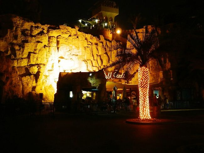 Wildwadi Waterpark Lights Palmtrees Beautifulnight Yellowlight Dubai