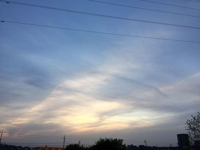 Instagramのとちょっと場所が違うバージョン 夕焼け Sunset 空 Sky 電線 Electric Wires 雲 Clouds