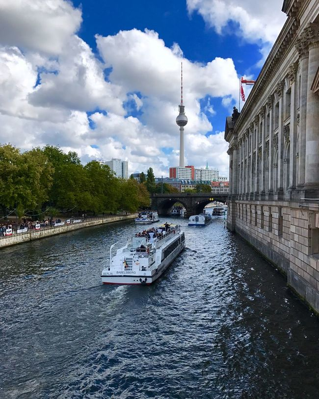 Water River River View Riverscape Spree Spree River Boats Ships Tvtower Tvtowerberlin Museumsinsel Museumisland Ship Boat Boats And Water Sky And Clouds Waterfront Sky Canal Tower International Landmark City Life Nautical Vessel Tourism