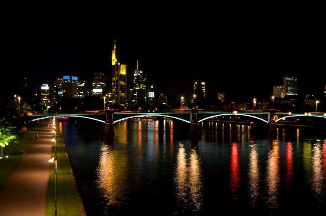 Frankfurt Am Main Bankenviertel Wolkenkratzer Main Tower Skyline Nightphotography Night Lights
