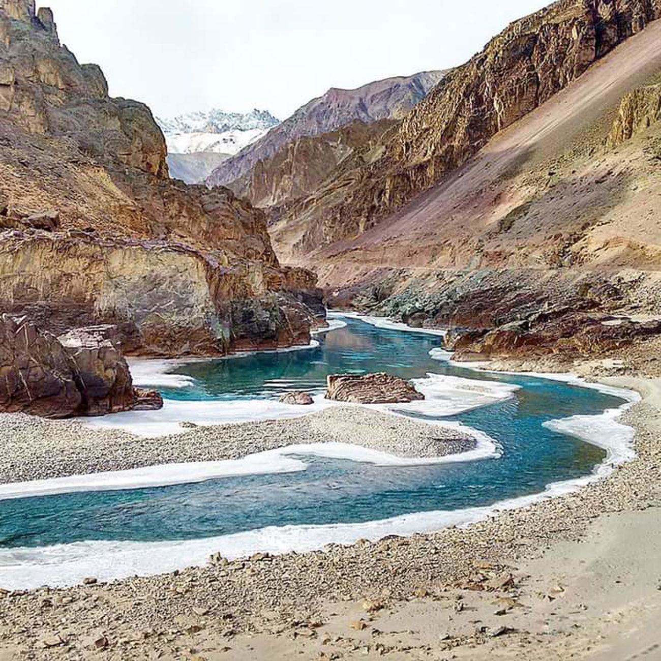 The River Zanskar  in Leh ... the Himalayas have an Awesome Beauty Traveladdict Travelandlife Igindia Igers Photooftheday Instagramers Mountains BBCTravel Nature LiveYourAdventure Lonelyplanetphotos Paradise