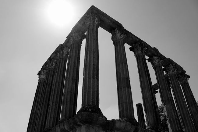 Roman Temple Black & White Minimalism Minimal Black And White Blackandwhite Blackandwhite Photography Bnw Ruins Eye4photography  EyeEm Best Shots EyeEm Bnw EyeEmBestPics Architecture Minimalobsession Still Life Temple Ruins Historical Monuments Travelphotography Sky And Clouds EyeEm Gallery Taking Photos at Templo De Diana Évora  Portugal