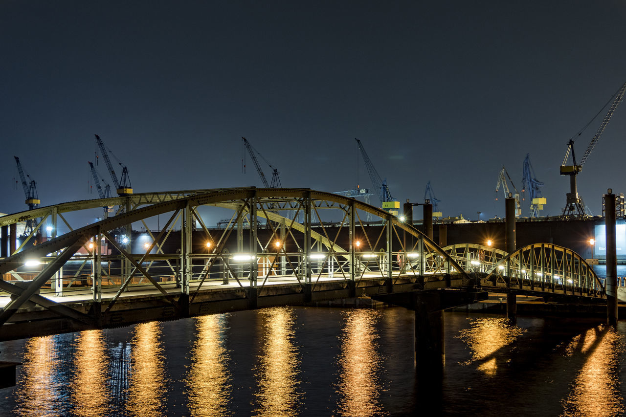 footbridge Altona Fischmarkt Architecture Blohm + Voss Bridge - Man Made Structure Built Structure City Connection Cranes Dock 11 Elbe River Hamburg Harbour Illuminated Nature Night No People Outdoors River Sky Transportation Water