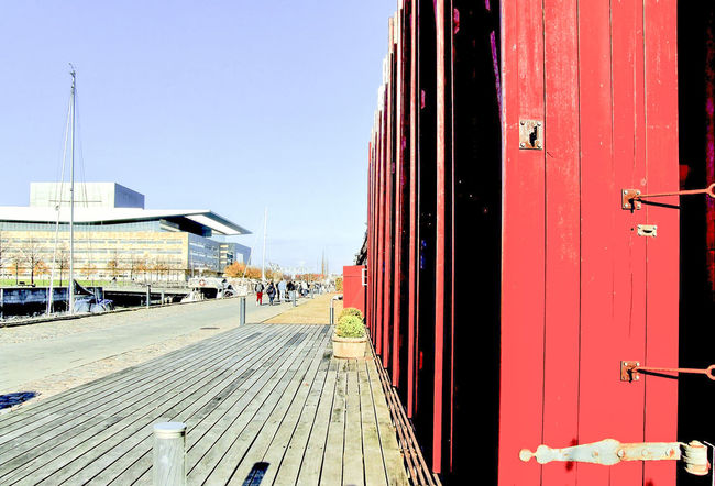 Copenhagen old harbour Architecture Building Exterior Built Structure Clear Sky Day Doors Horizontal No People Outdoors Red Red Buildings Sunlight Wood Wooden Wooden Building Wooden Doors Wooden House