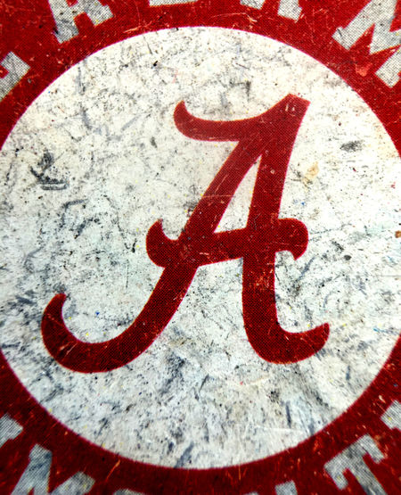 Alabama Circle Close-up College College Football Colors Crimson Tide  Cursive Day Detail Faded Focus Information Sign Macro No People Objects Outdoors Red Road Sign Roll Tide  Selective Focus UA University University Of Alabama White