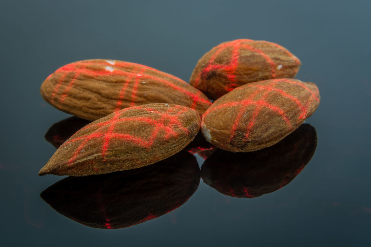 Almonds Alomonds Black Background Close-up Colored Background Eat Food Gray Background Healthy Eating Laser Nut Coloured Close Up Technology Red Red Laser Laser Beam