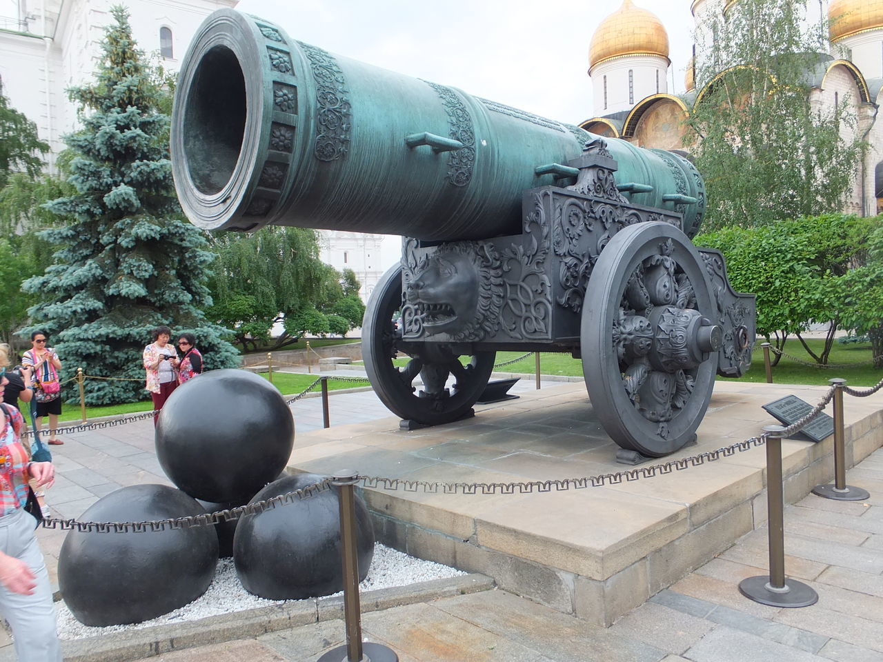 Tzar's Cannon (1856) Antiquity Cannon Cannon Balls Composition Day Historic Incidental People Kremlin Moscow Outdoors Russia Tourist Attraction  Trees Tzar Tzar's Cannon