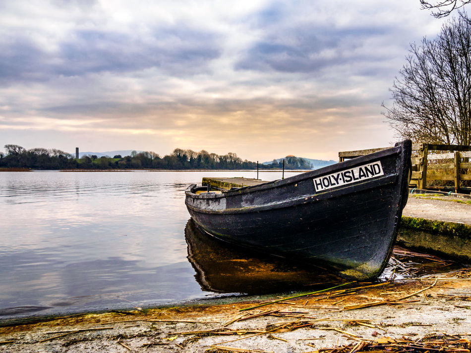 Holy Island 🚣 Inis Cealtra Lough Derg Ireland Water Water's Edge Cloud - Sky Nautical Vessel No People Sky Beauty In Nature Outdoors Nature Day Lough Landscape Landscapes Lake Sunset Boat Rowing Boat