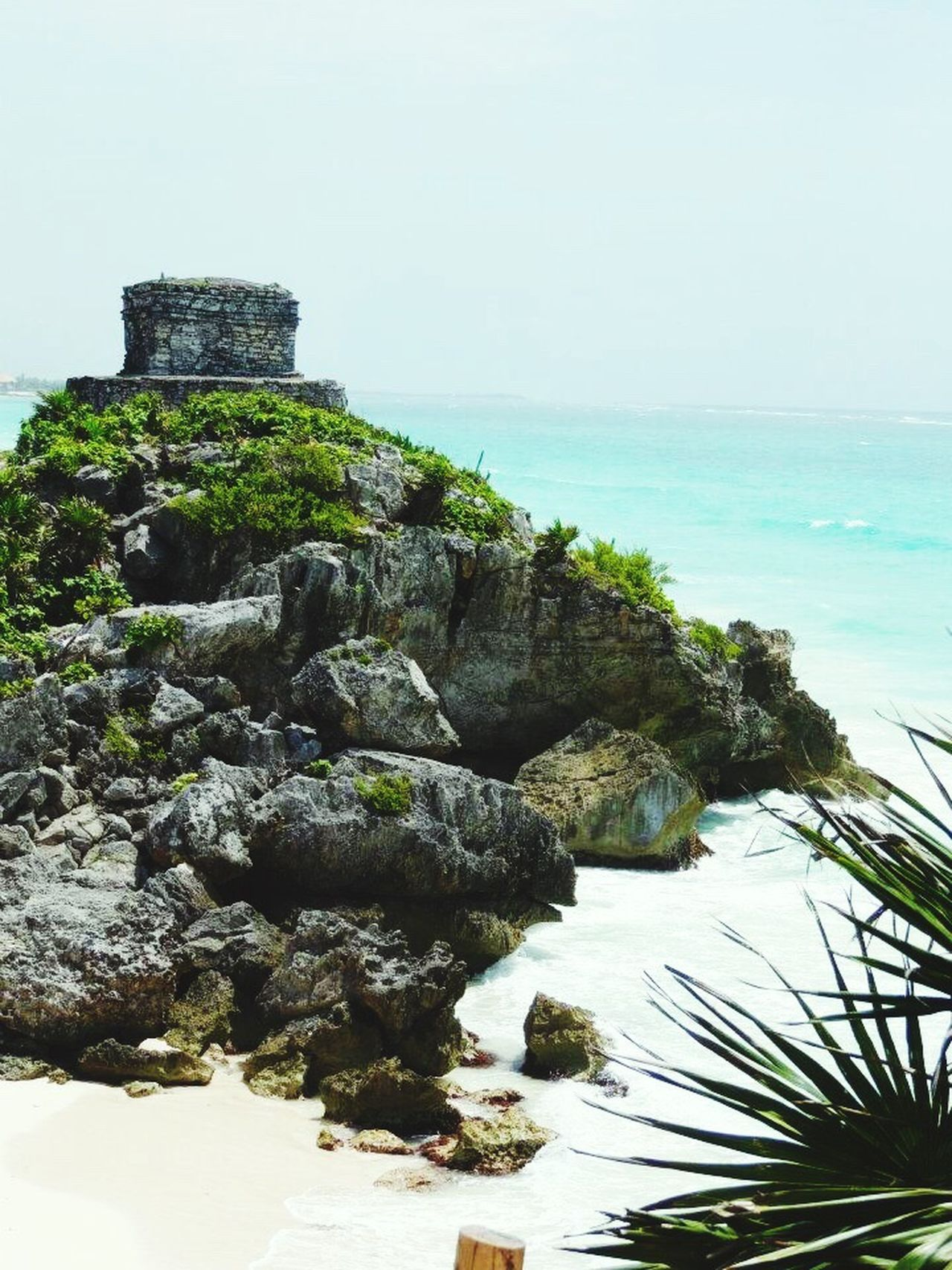 Sea Rock - Object Travel Destinations Scenics Outdoors Nature Horizon Over Water Sky Beach Day Vacations Water No People Architecture Ancient Civilization Ancient Paradise Paradise Beach Mexico Tulum Tulum , Rivera Maya.