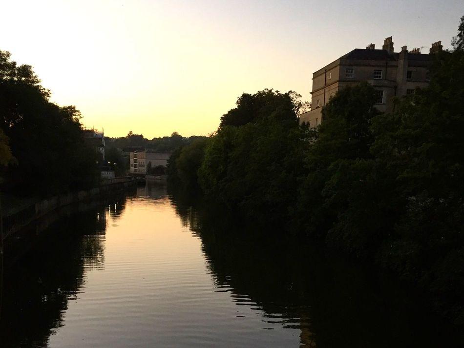 City of Bath.. Water Canal Bridge Sunset Reflection Silhouette Bathcity England