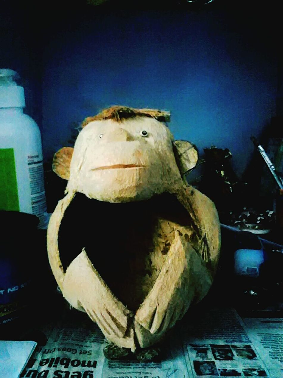Monkey Monkey Business Monkey Sitting Carved Coconut Indoors  Close-up No People Hollowed Out Hollow Inside Of Space Coconut ArtWork Funny Handcrafted Handicraft Byhand Eyes
