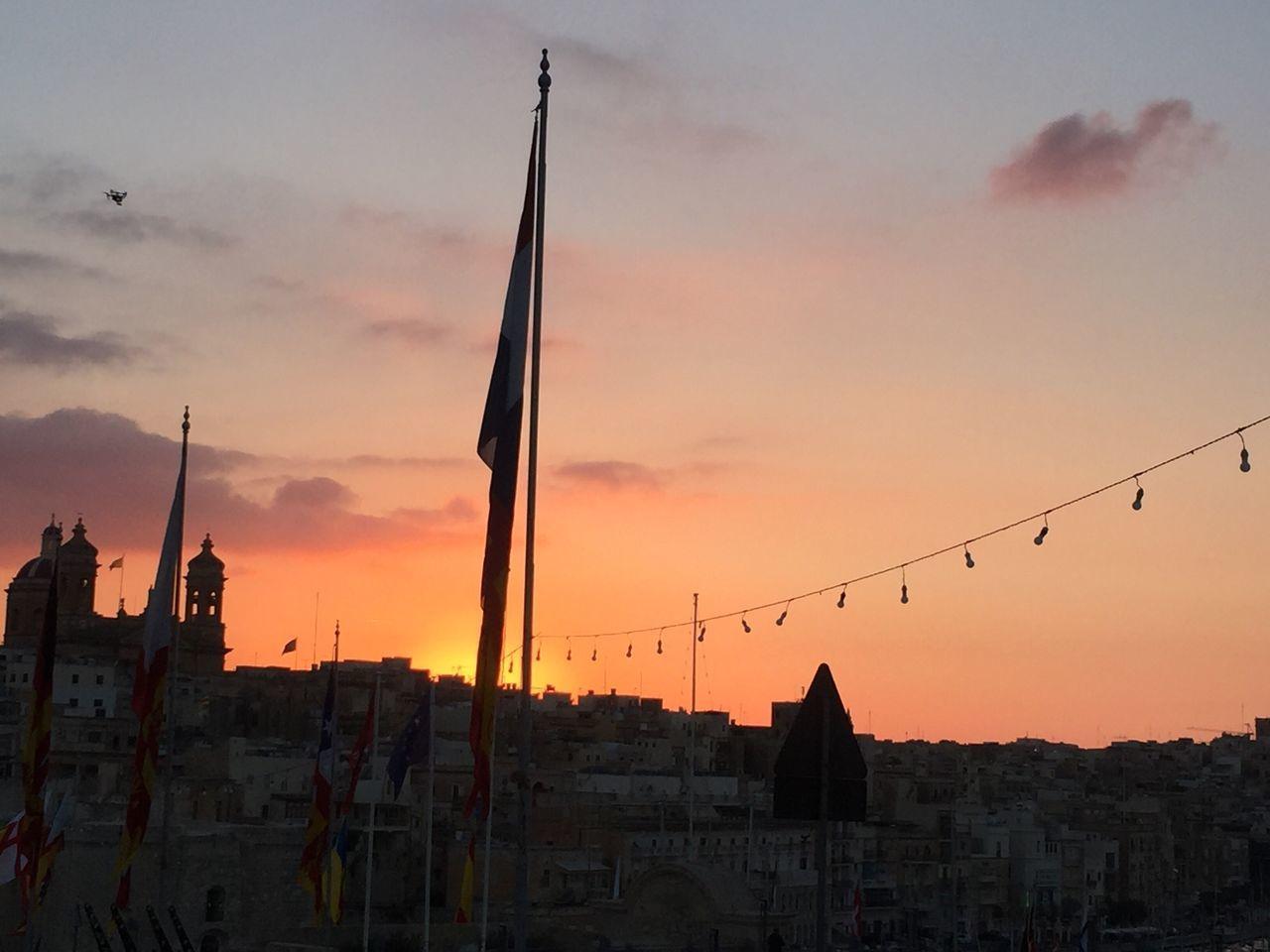 Red Sunset Flag Historic City