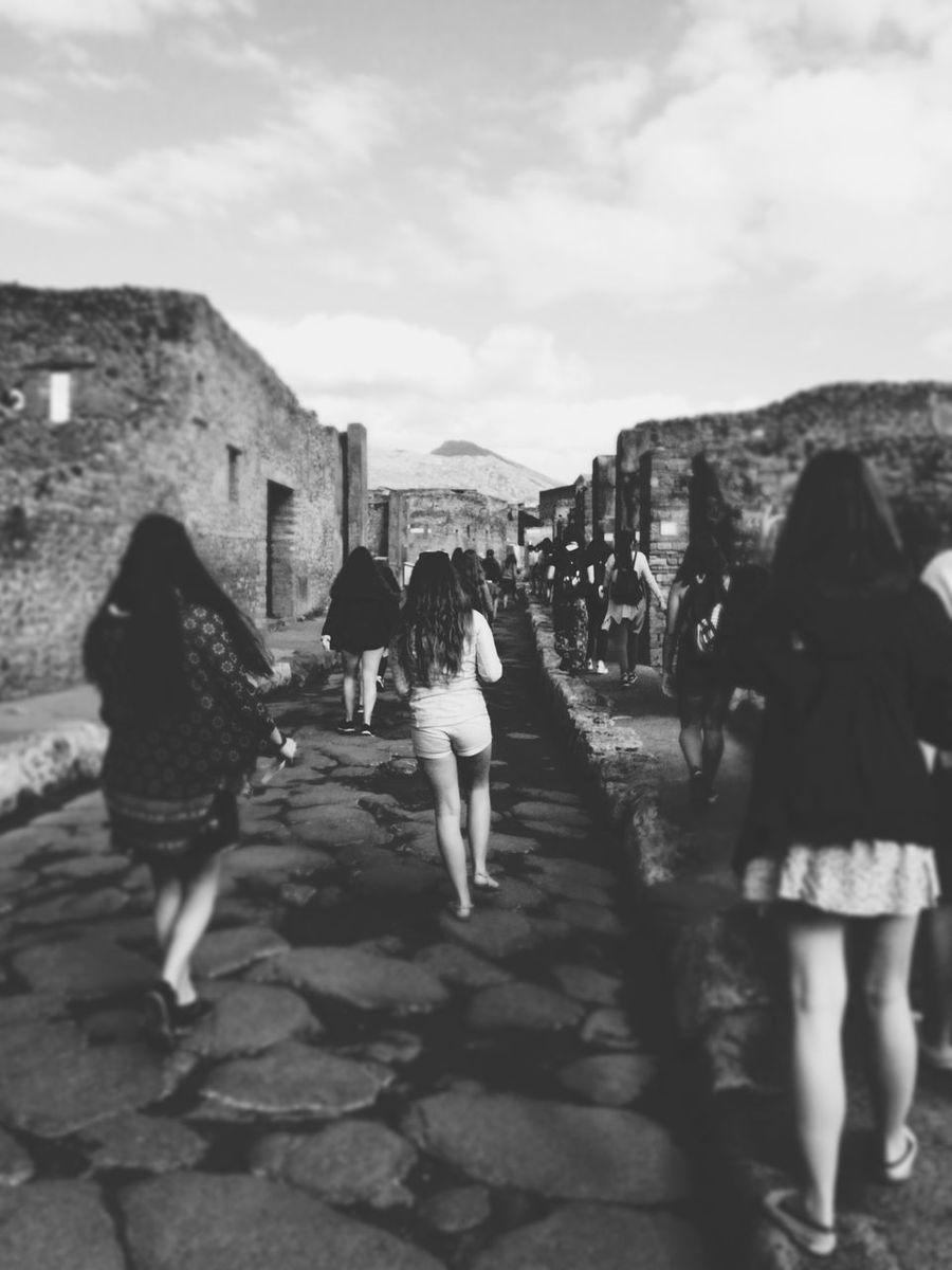 Feel The Journey Pompeii  People Walking  Black & White