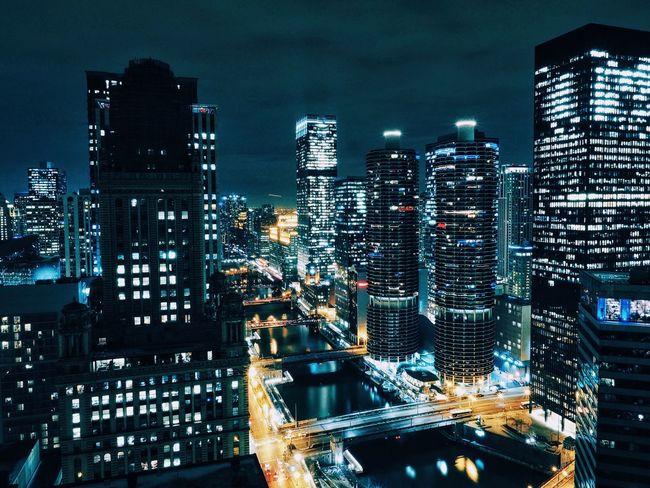 Architecture Chicago EyeEm Best Shots Vscocam Night Photography Skyline Skyscrapers Gotham Night Lights