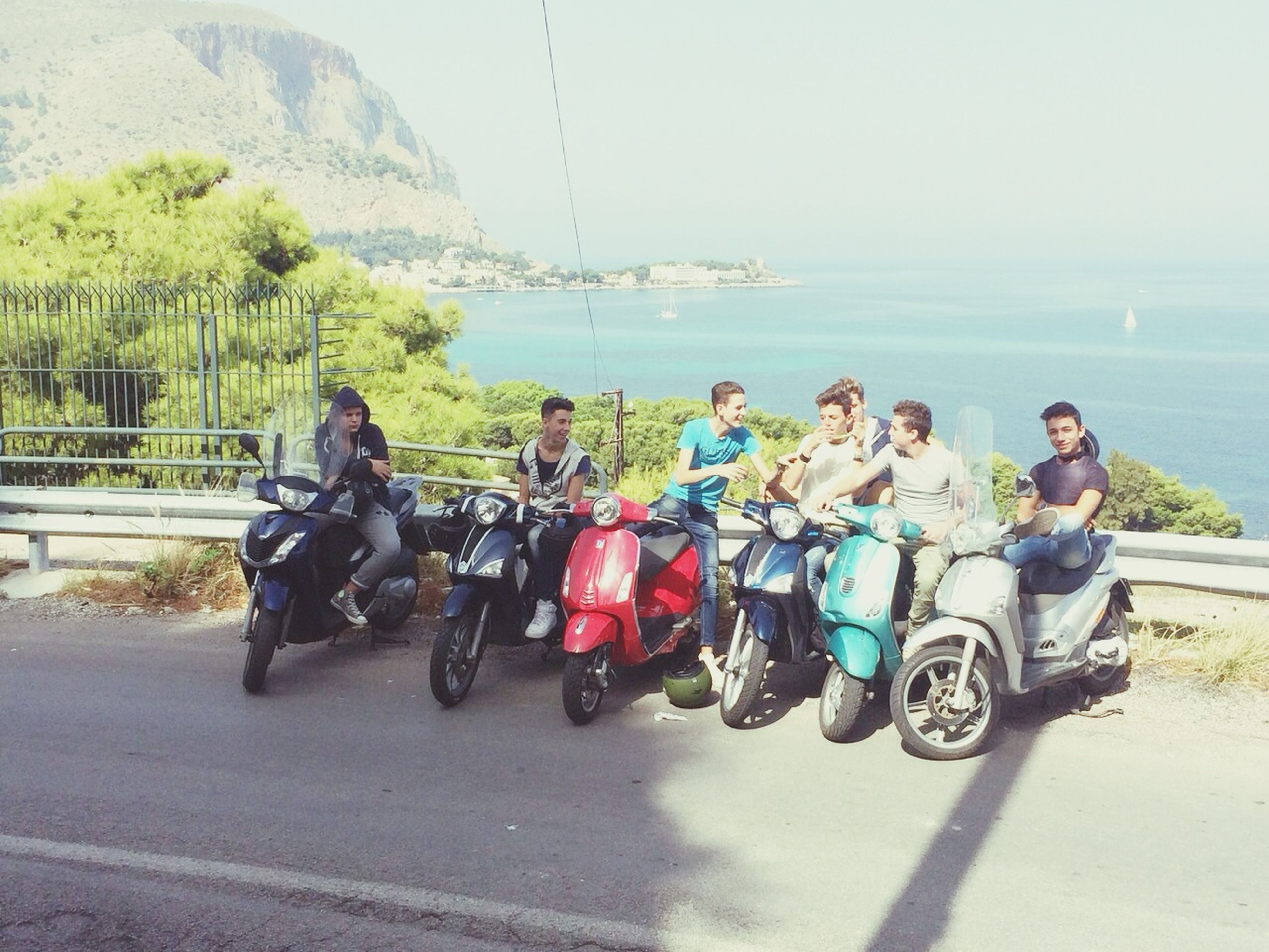 lifestyles, leisure activity, transportation, mode of transport, togetherness, men, land vehicle, bicycle, bonding, full length, sea, water, casual clothing, sitting, riding, friendship, love, person
