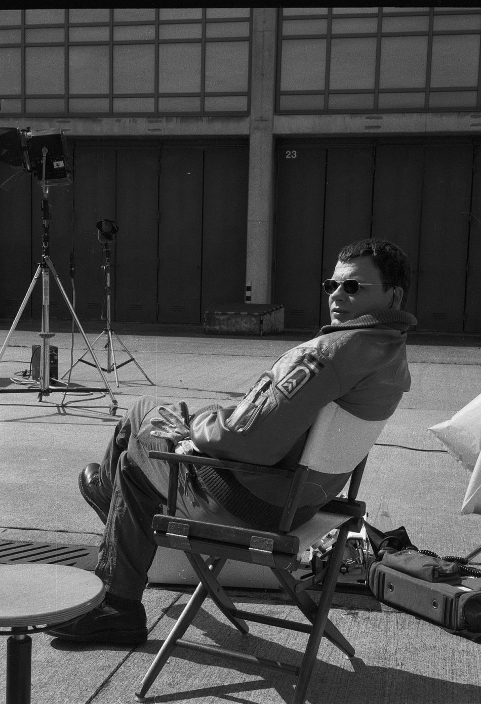 Actor Analogue Photography Black And White Photography Black And White Portrait Coolness Famous Person Film Leisure Activity Men Occupation On Location Person Portrait Real People Rettunsgsflieger Sitting Soldier Sunglassses Sunset Ulrich Bähnk Uniform
