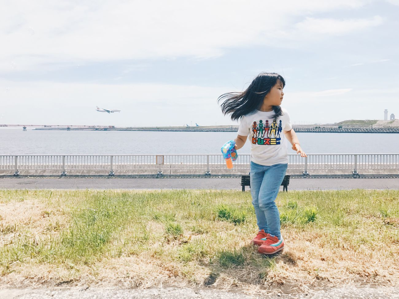 Vscogood Vscocam VSCO Casual Clothing Real People Full Length Leisure Activity One Person Sky Day Standing Outdoors Cloud - Sky Lifestyles Nature Sea Water Young Women Childhood Grass Young Adult Beauty In Nature People Hello My Baby Airplane