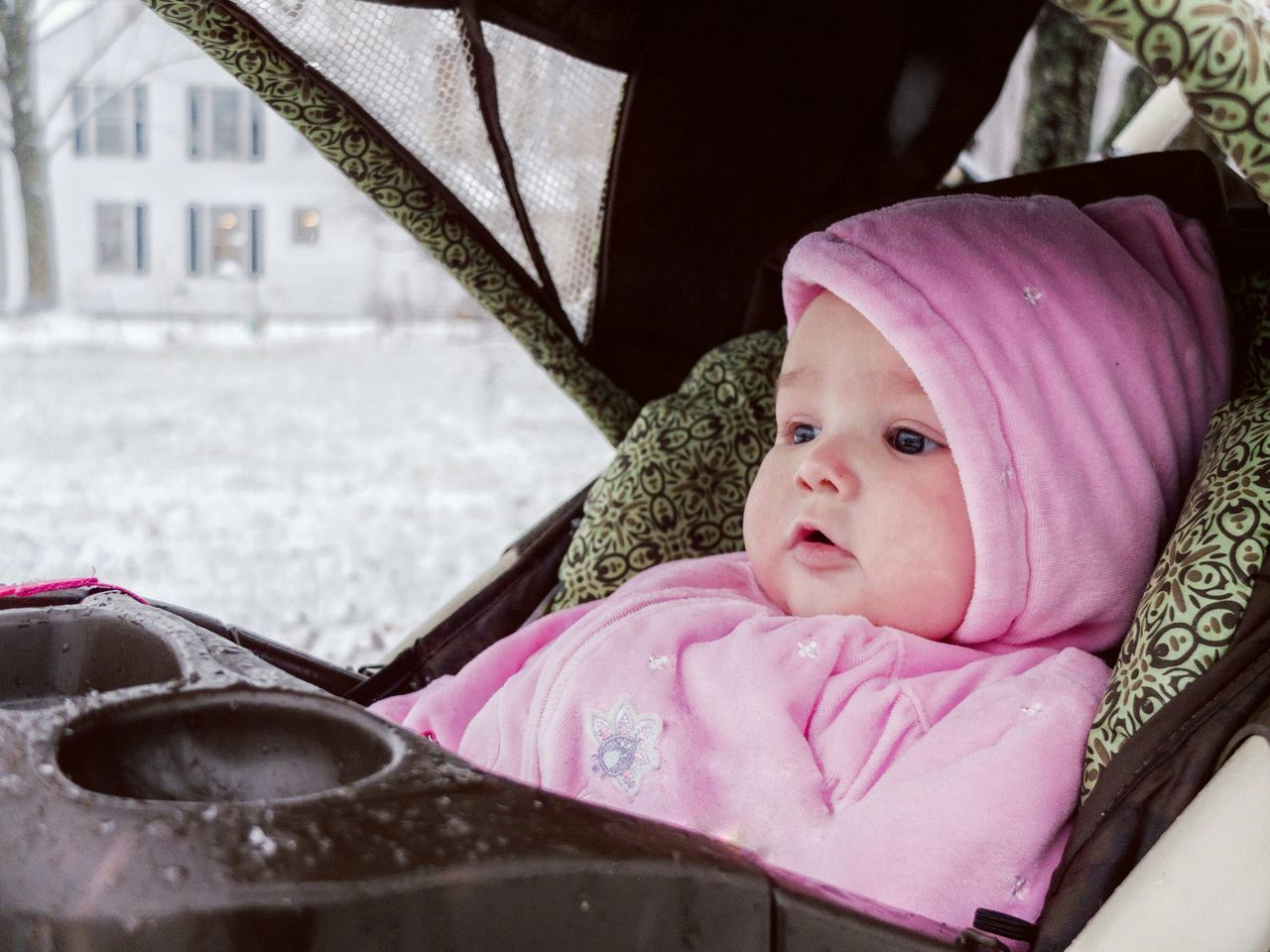 First winter. Snow Winter Baby Stollers Pink Hood Cold Staring New Eyes My Winter Favorites