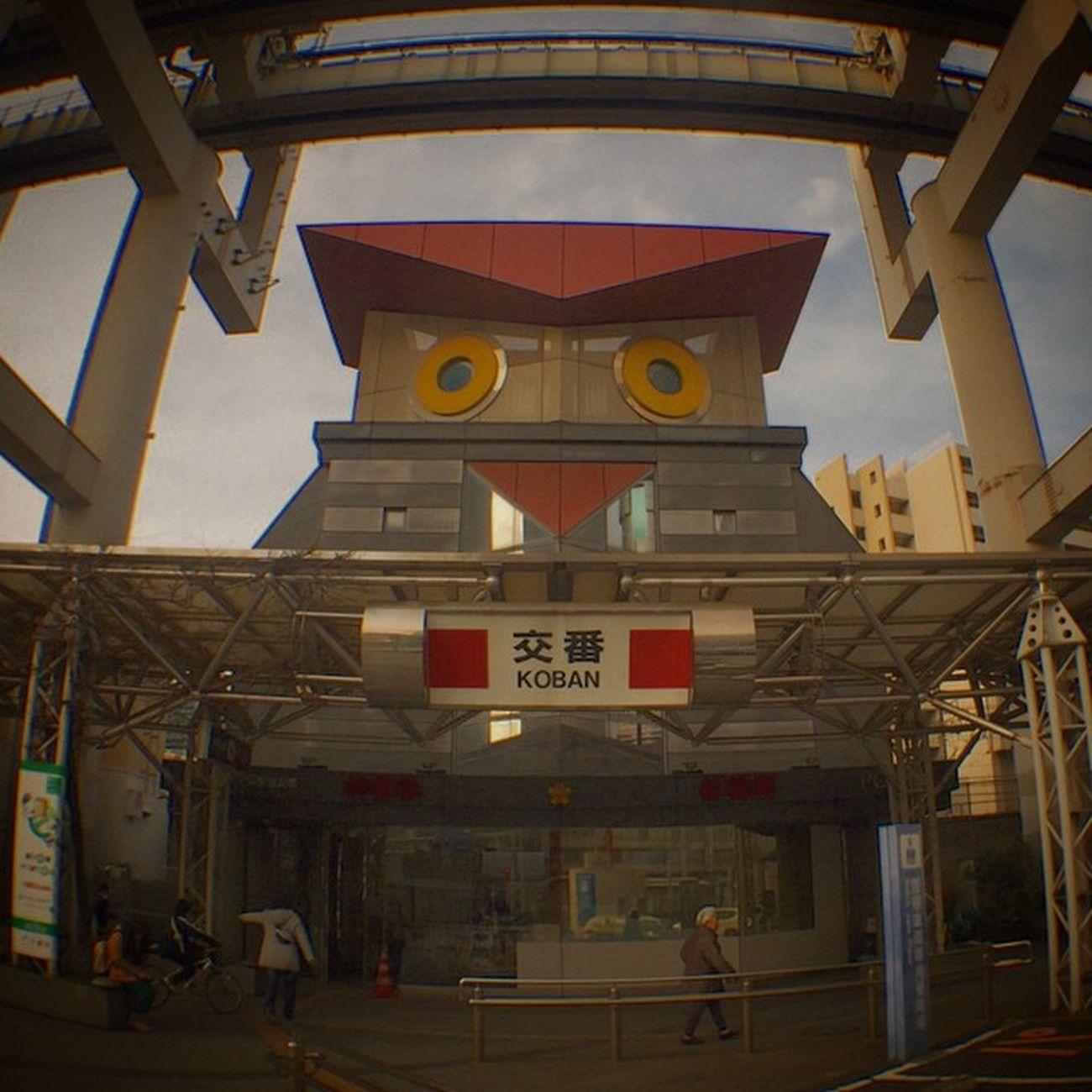 千葉駅東口のふくろう交番。いつ見てもシックリこないなぁ^_^; Policestation Owl Koban Ollioclip Ollioclipfisheye Fisheye