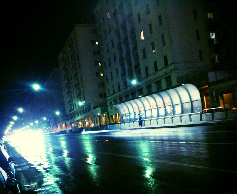 EE_Daily: Green Thursday streetphotography Light italy Night Lights Perspectives urban landscape by Simodenegri