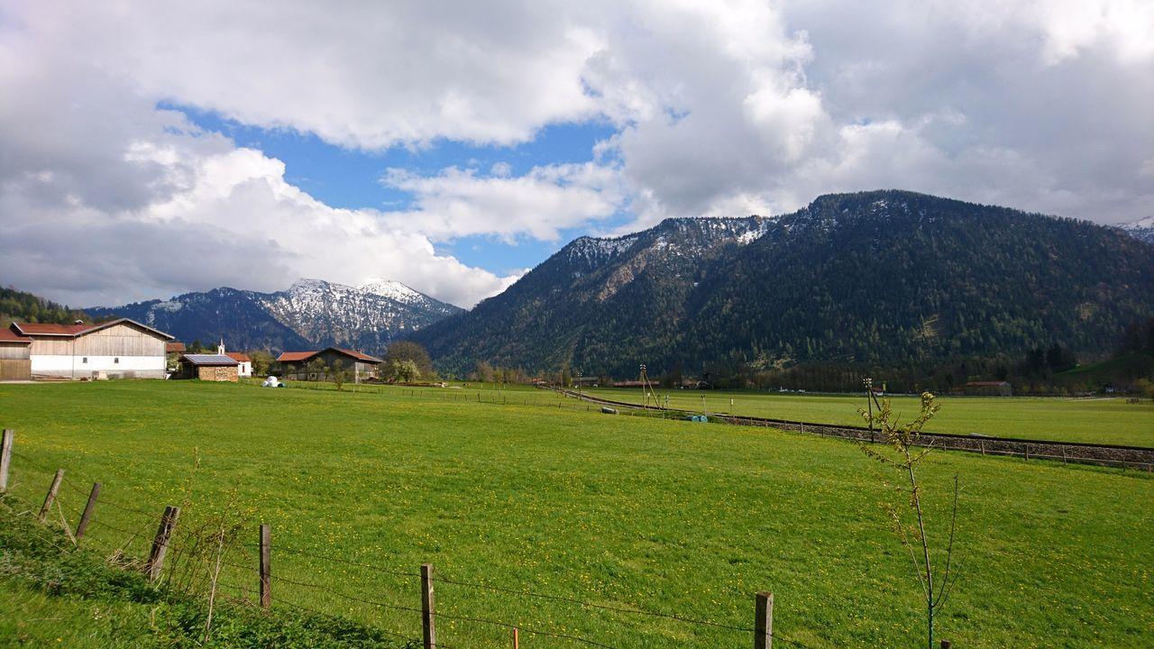 Alpine foreland III. · Germany Bavaria Bayern Alpine Foreland Alpine Foothills Alpenvorland Fields Pastures Mountains Nature Landscape Beautiful Nature Beautiful Day Green Fence Village