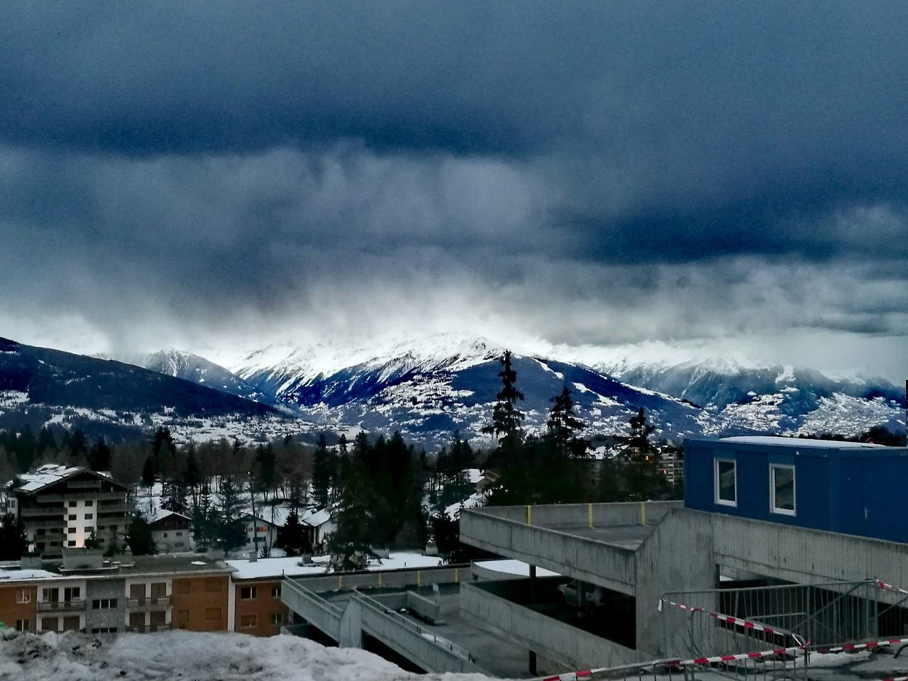 Miles Away Snow Winter Weather Cold Temperature Sky Outdoors No People City Storm Cloud Mountain Day Alps