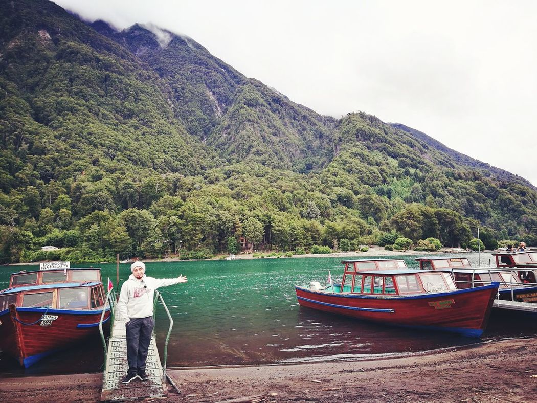 Lago De Todos Los Santos Petrohué Chile♥ Nautical Vessel Lake Lifestyles Transportation Water Travel Destinations Leisure Activity Outdoors Full Length One Person Vacations Sailing Nature Beauty In Nature Day Mountain Passenger Craft Adults Only One Man Only Men