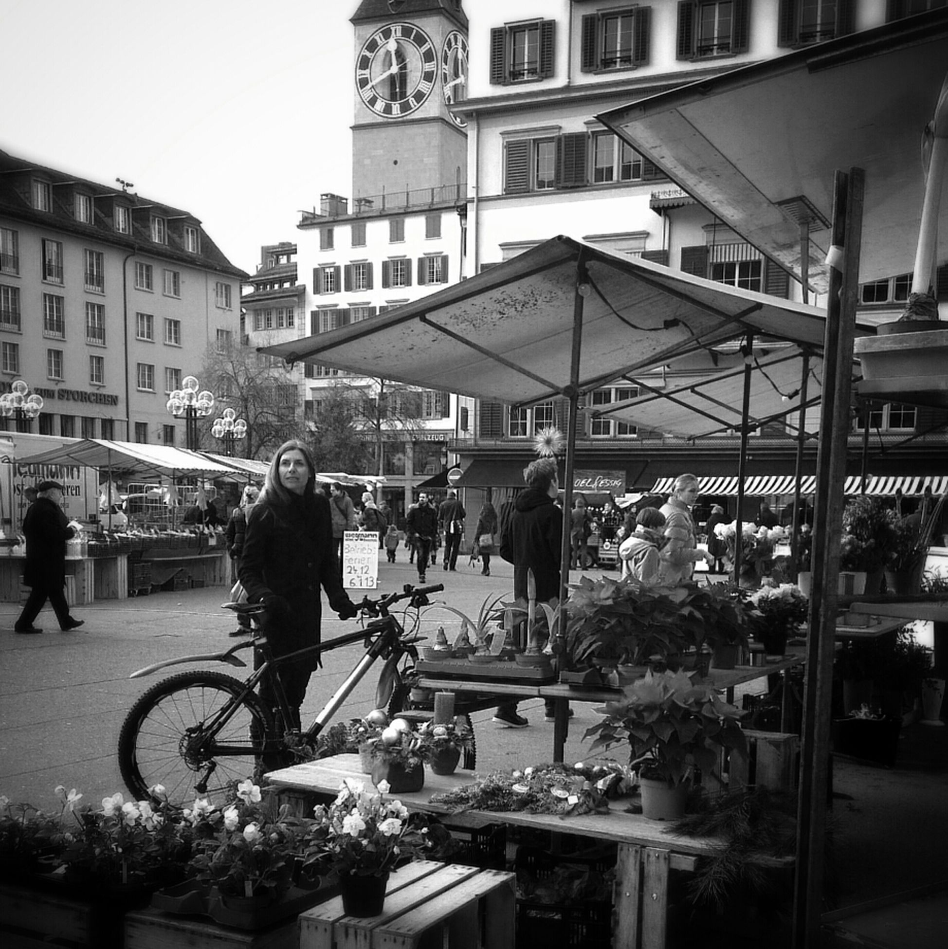 People Watching Flowers Blackandwhite Zürich On The Streets Going To Market Bws_worldwide