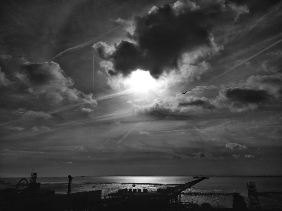 Southend seafront. Cloud - Sky Outdoors Dramatic Sky Scenics Sky No People Southend Southend On Sea Southendonsea Southend Seafront Southend Pier Southend Seaside Southend-on-sea Black And White