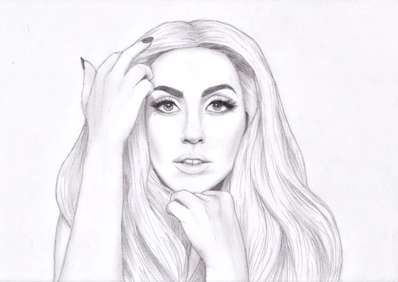 Lady Gaga Blackandwhite Drawing Painting Sketch