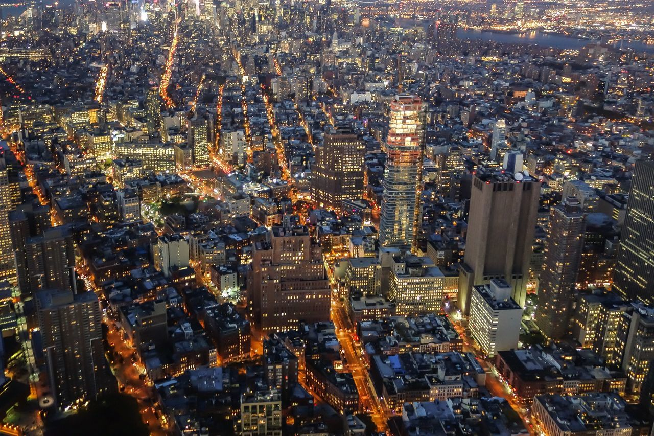 Aerial View Architecture Building Exterior City Cityscape Crowded High Angle View Illuminated Night Outdoors Skyscraper Travel Destinations Urban Skyline