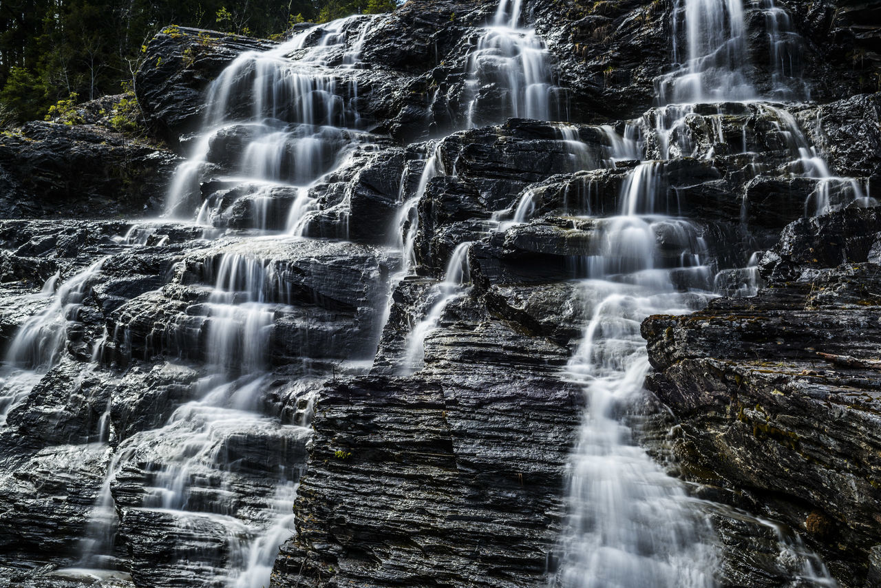Water Flowing Through Rocks In Forest Against Sky