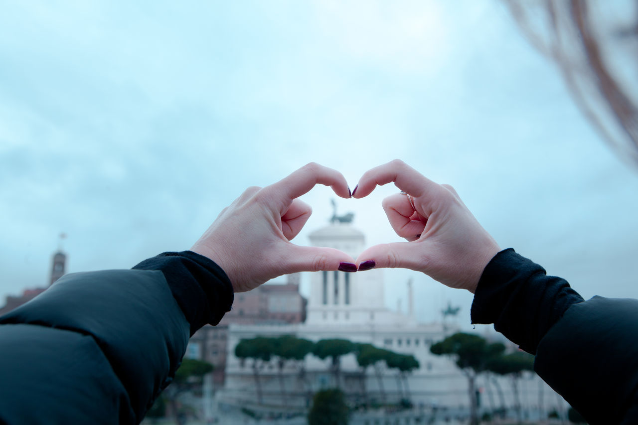 Altare Della Patria Close-up Connection Heart Shape Human Body Part Human Hand Italy Love Real People Rome Sky Togetherness Tourist Tourist Attraction  Travel Lover Winter Woman Blogger