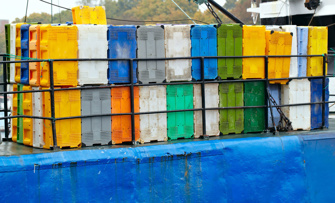 Background Blue Bright Bright Colors Cargo Color Colorful Container Customs Day Distribution Freight Goods Harbor Import Industrial No People Ship Shipping  Vivid