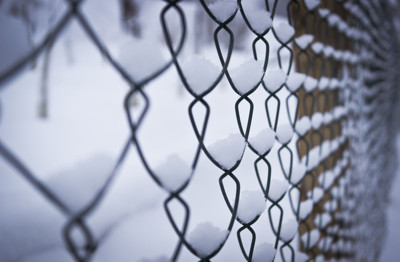Fence Security Chainlink Fence Protection Safety No People Boundary Close-up Outdoors Snow Winter Abstract Blur Separation Border