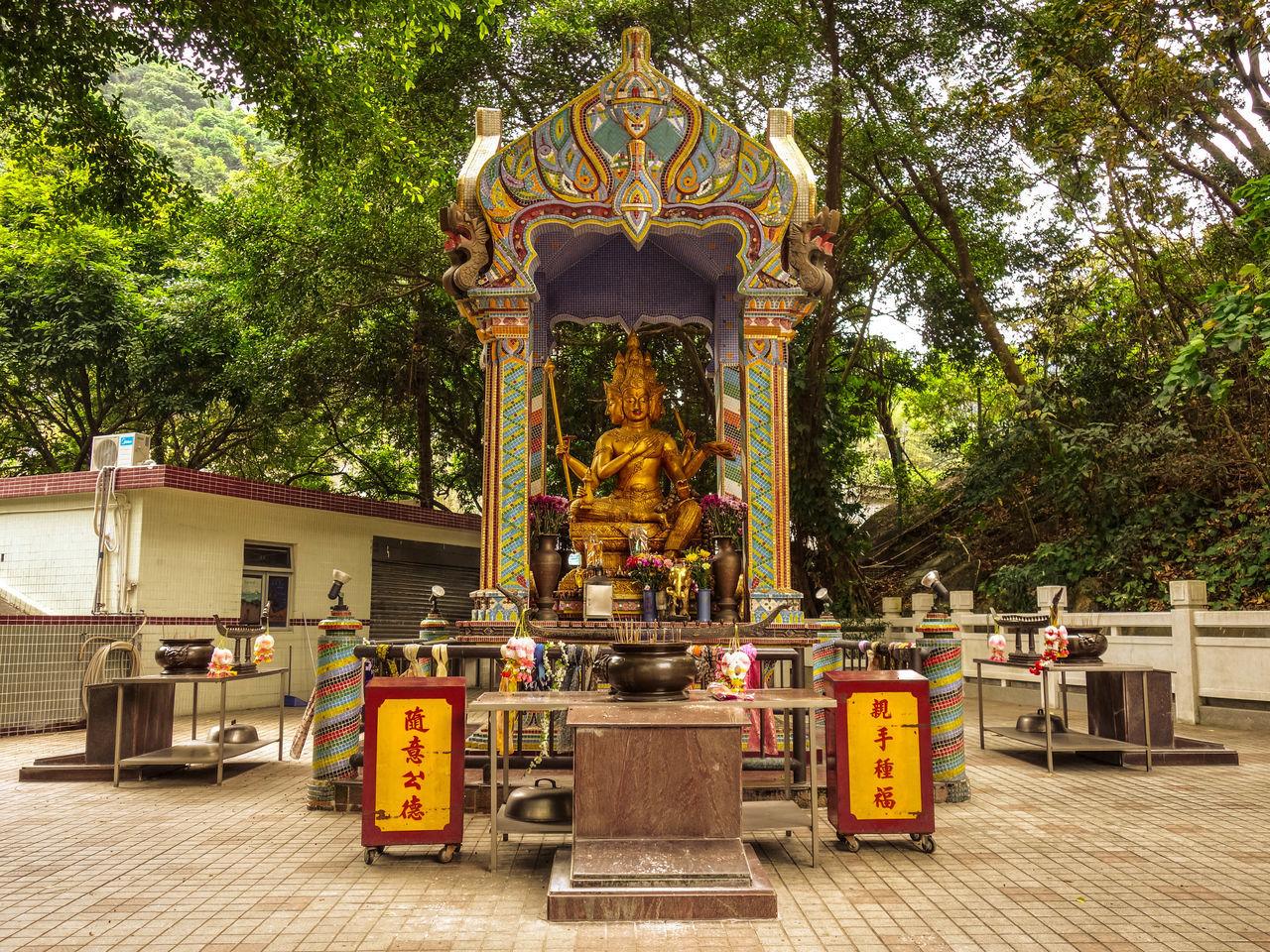 Chinese Monastery Hong Kong Shatin Tai Wai Budhism Budhist Architecture Temple Budhha Idol Incense Sticks Green Golden Statue