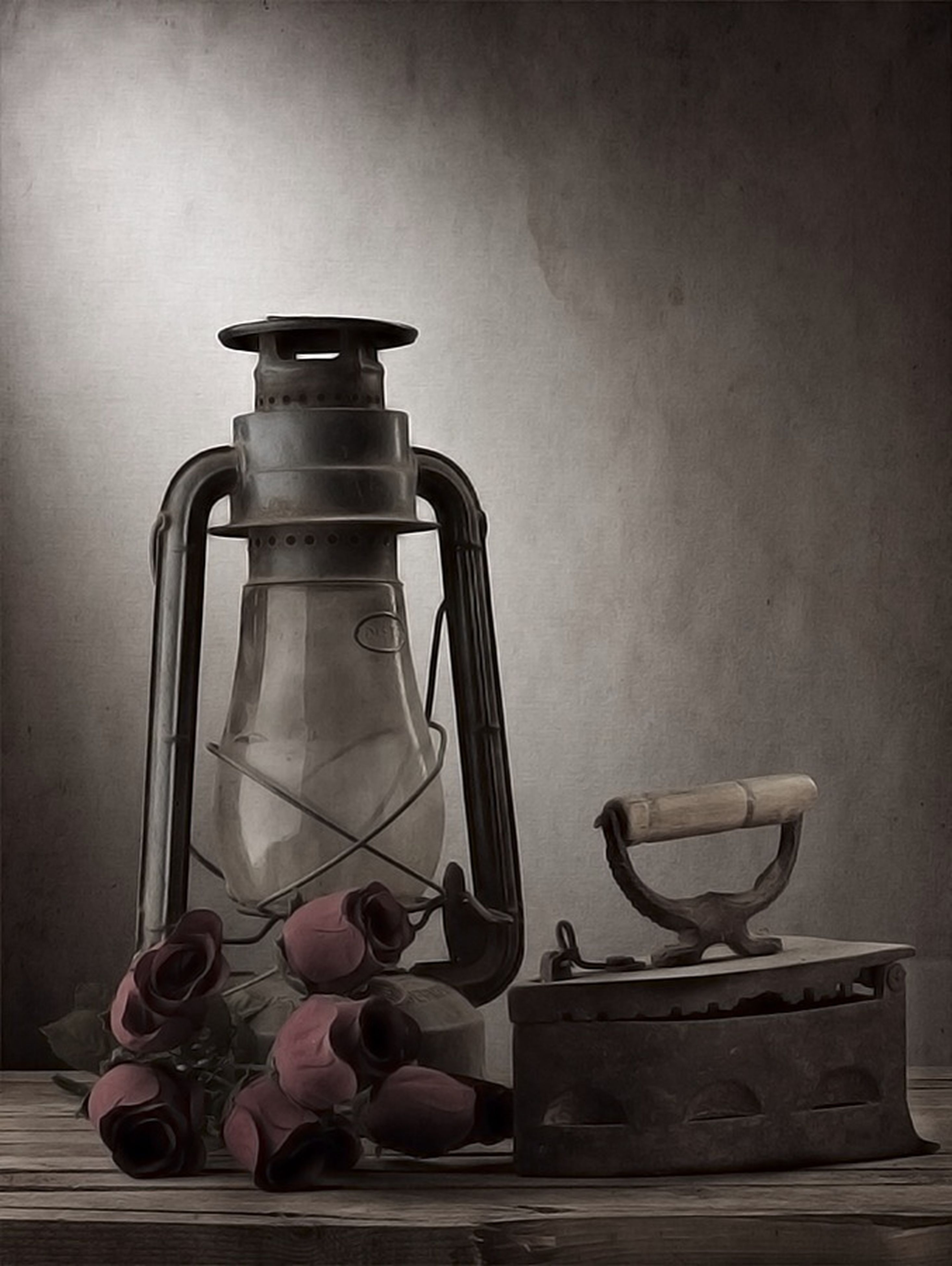 indoors, still life, table, wall - building feature, no people, home interior, built structure, metal, absence, old-fashioned, close-up, container, chair, architecture, day, wood - material, sunlight, copy space, retro styled, lighting equipment