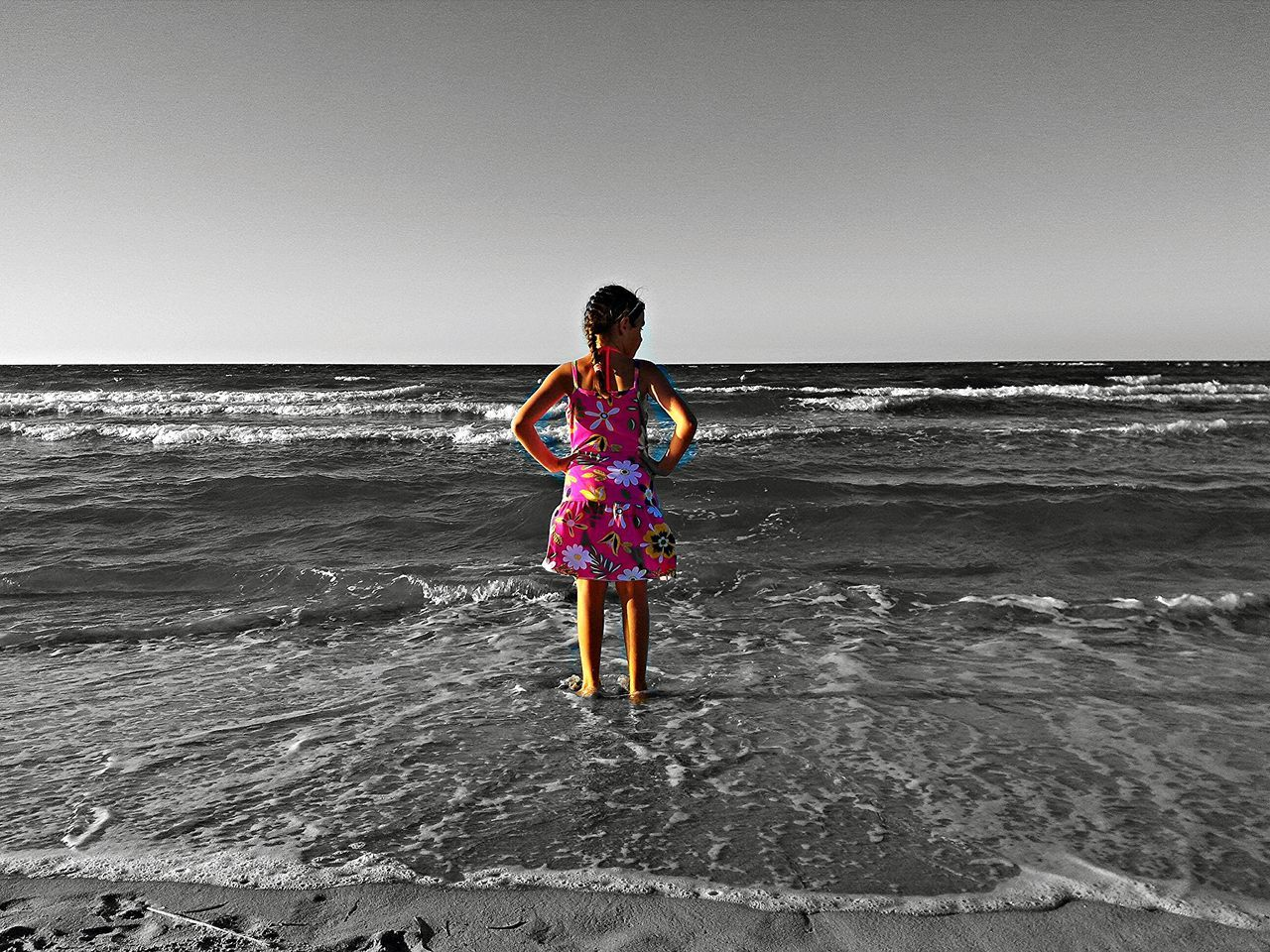 Salento, Italy Child Photography Black&white Background Subject In ColourBeachphotography SeaBeach Photography Beach Beach Waves Beachtime Beach