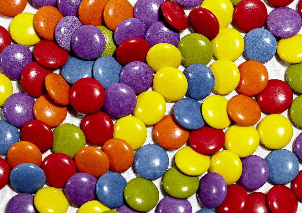 Background Candy Chocolate Coated Color Confectionery Covering Delicious Dragée Drops Glaze Multi-colored Multicolored Pattern SugarCoated Tasty Texture