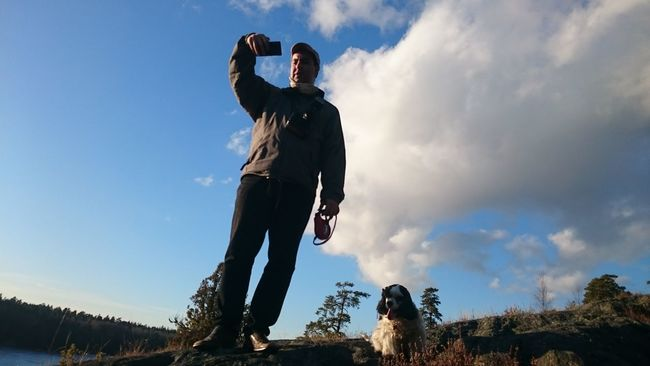 Taking Photos Man Nature Photography Man And Nature Man And Dog Contrast Natural Beauty Hanging Out Mobile Photography Snapshot Blue Sky One Hand Week On Eyeem