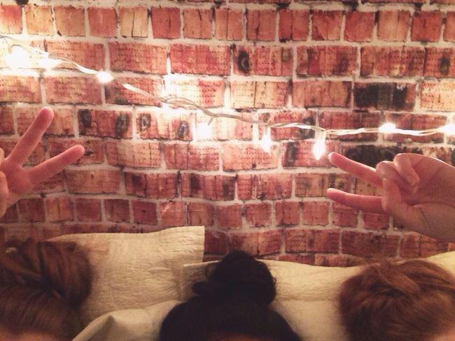 Messy buns ft. peace signs Shadow Indoors  Wall - Building Feature Lifestyles Togetherness Shoeeace Sign] shoeReddRelaxationnPersonnFrienddCarefreeeTwinkle LighttAutumnnBlanket ForttSoftnesssCozyyIlluminateddHome InteriorrIndoors  FriendssFriendshippThree GirlssMessy Hairr