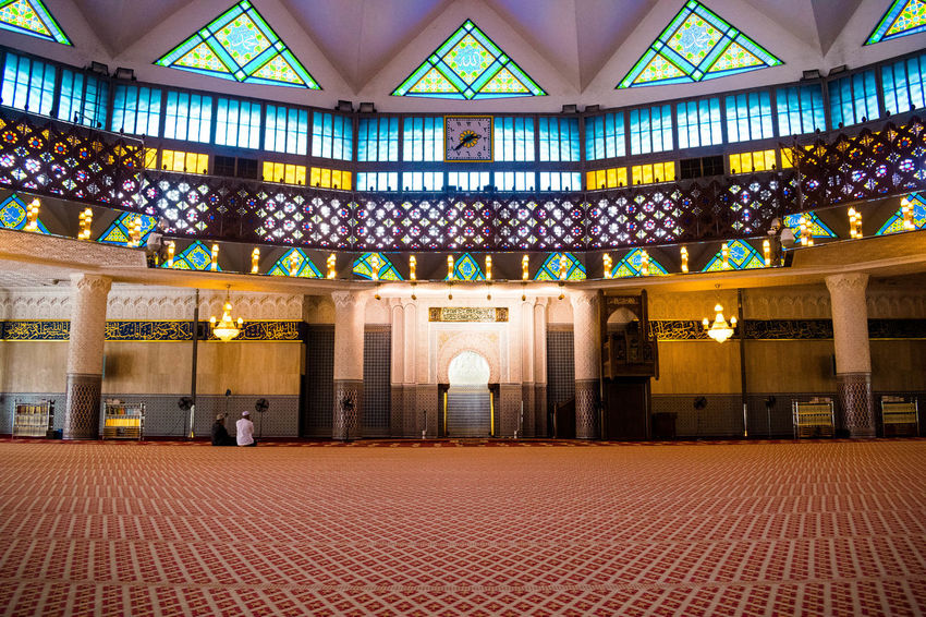 The inside of Masjid Negara aka prayer hall Architecture Lights MASJID NEGARA Architecture Hall Indoors  Light And Shadow Masjed  Masjid Prayer Travel Destinations