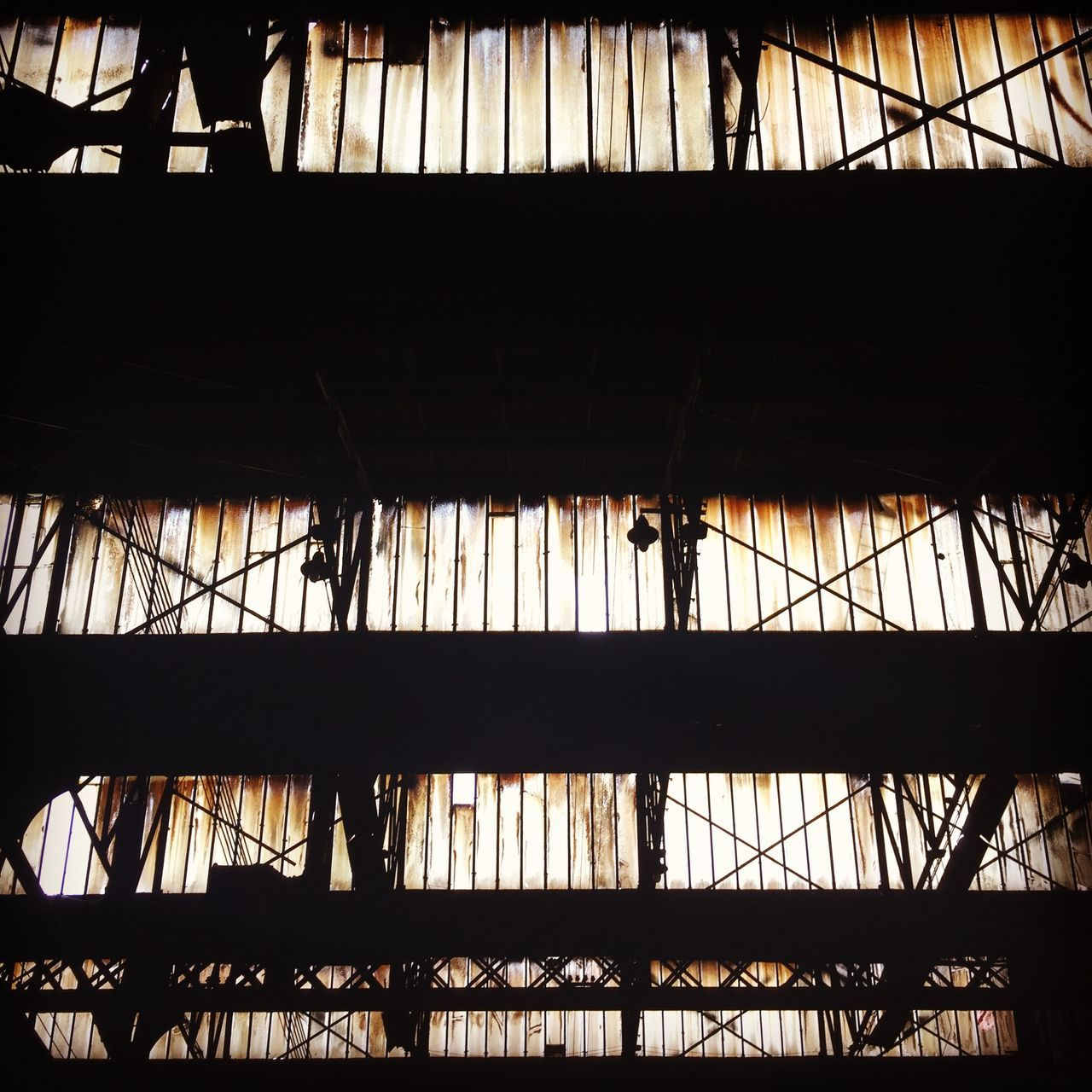silhouette, built structure, architecture, indoors, low angle view, no people, day, girder
