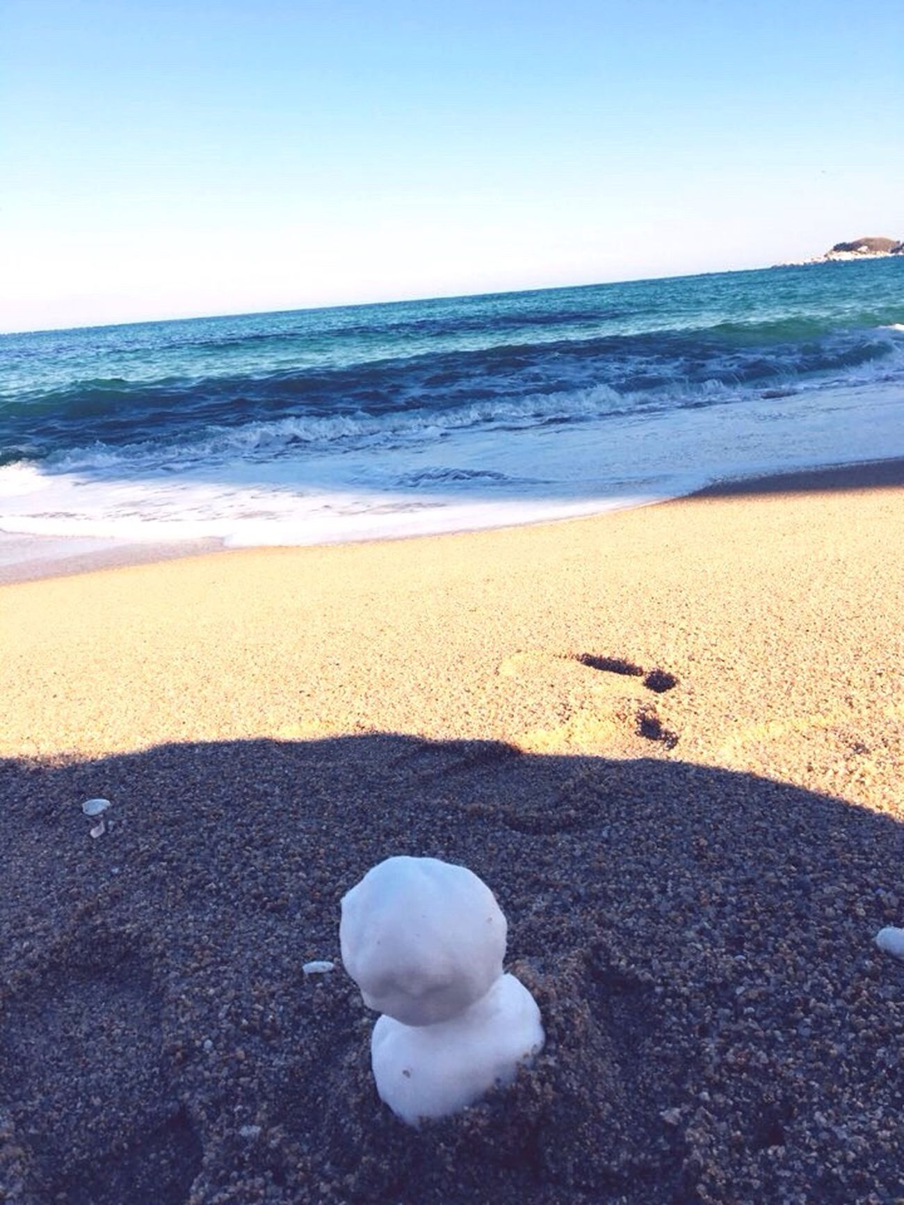 Snowman Sea View Winter Sea Sea And Sky Sokcho Beach Korea Trip Photo IPhoneography