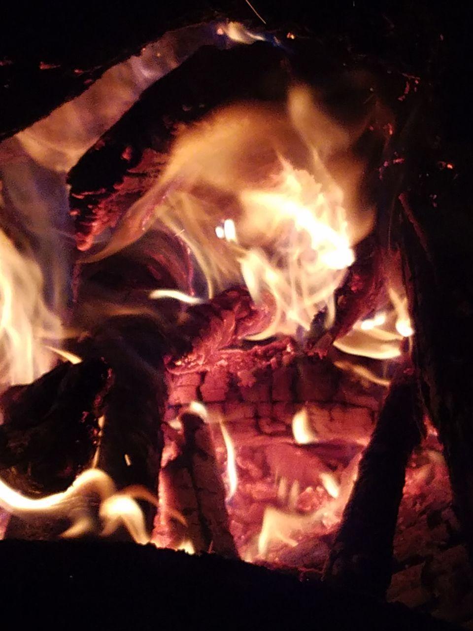 burning, night, flame, heat - temperature, no people, bonfire, outdoors, nature, close-up